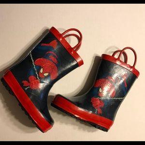 Rubber rain boots for toddler boy size 7-8 EUC