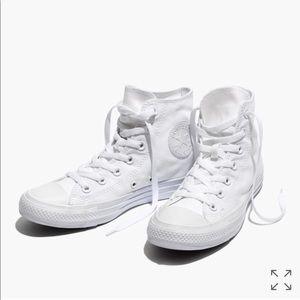 White monochrome hi top converse
