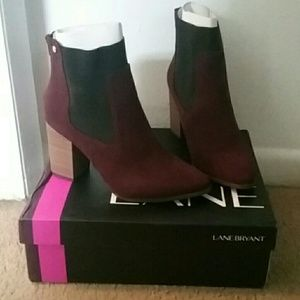 Lane Bryant wine colored faux suede ankle boots