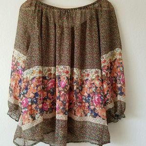 Fei Silk Floral Peasant Blouse size L