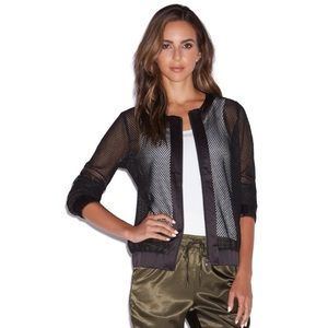 NWT S or M JustFab Trendy Black Mesh Bomber Jacket