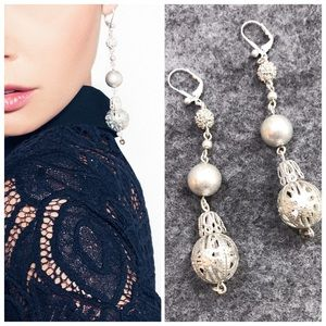 NIB Jewelmint Disco Ball Long Drop Earrings Silver