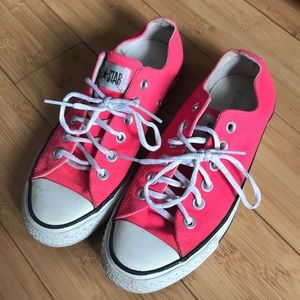 Neon Pink Converse Low Tops