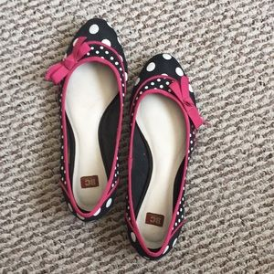 Polkadot Black Flats with Pink Bow
