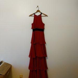 BCBGMAXAZRIA Layered Ruffle Gown