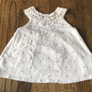 Toddler Girls Cream and Gold Tank Top