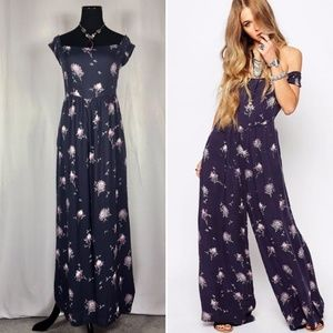 Aster Blue Floral Off Shoulder Wide Leg Jumpsuit
