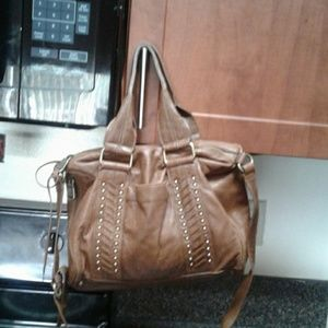 Andrew Marc Leather Brown Satchel with belt