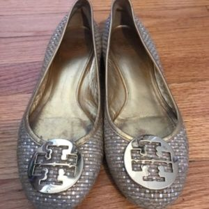 Tory Burch Tweed and Gold Flats, Size 10