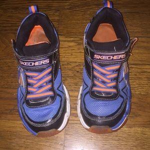 Boys Blue & Orange Skechers  Sneakers  W/ Velcro