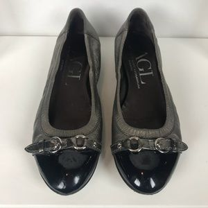 AGL cap toe ballet flat blk patent leather Sz 37.5