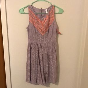 Light purple and coral lace dress