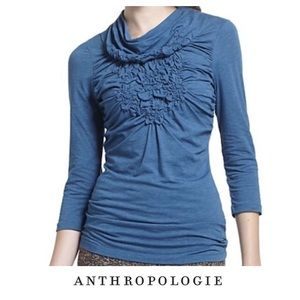 Anthropologie Deletta Blue Mock Turtleneck Top