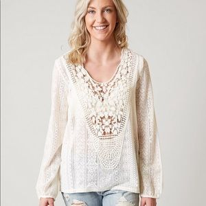 Lace Blouse/Long sleeves/cream colored