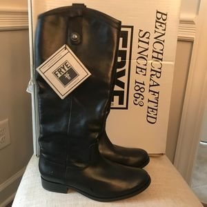 NIB New Frye Melissa Button Black Riding Boots 7.5