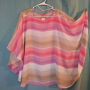 Poncho style sheer blouse