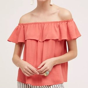 Anthropologie Maeve Off Shoulder Top Ruffle Coral