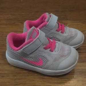 Nike Baby PINK and Gray Sneakers with Velcro