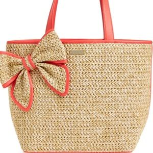 Kate spade belle place straw beach bag pink accent