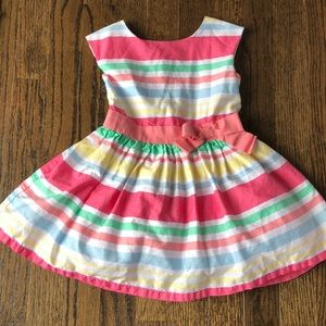 Toddler Girls Striped Spring or Easter Dress