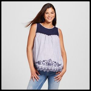Embroidered Maternity Tank Top