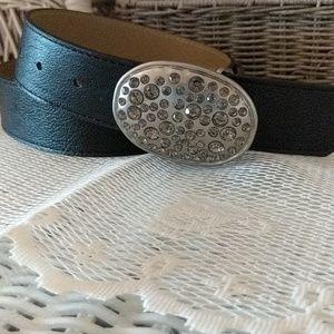Black rhinestone plaque belt