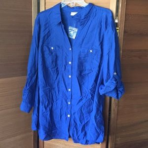 Royal Blue Silky Blouse w/Cite Gold Buttons