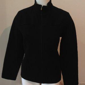Chico's Black Zip Textured Jacket  Size L