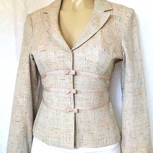 Nanette Lepore Pink Multicolor Woven Tweed Knit 6