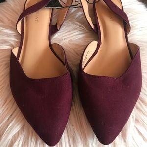 Maroon sling back point toe flats
