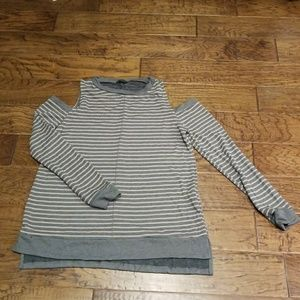 Cold shoulder long sweater