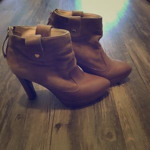 Love Moschino tan/brown ankle boots. Size 6.