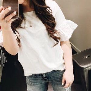 J. Crew white eyelet ruffle short bell sleeve top