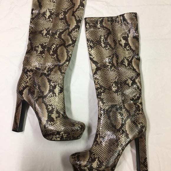 a8672f42b5 Worthington Shoes | Snake Print Knee High Boots | Poshmark