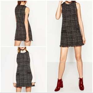 NWT Zara Checker Tweed Fringe Studs Pockets Dress