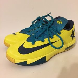 Nike KD 6 Yellow Teal Navy Shoes 4Y Womens 5.5