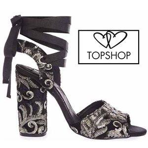 Exquisite Topshop black embroidered block heels 🔱