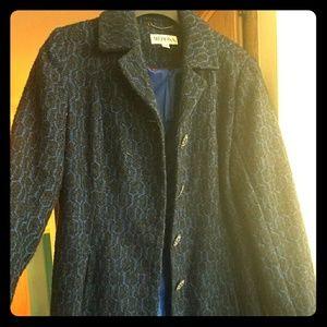 Black and blue long coat