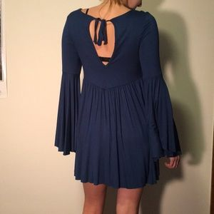 Free People Turquoise Bell Sleeve Dress