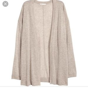 H&M cream longline open front cardigan sweater xs