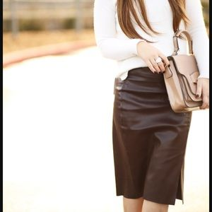 LOFT Faux Leather Maroon Pencil Skirt