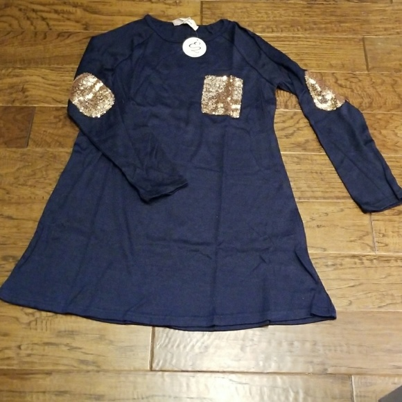 E2 Dresses & Skirts - NWT - Navy sweater dress with sequin elbow patches