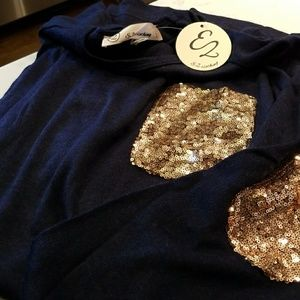 E2 Dresses - NWT - Navy sweater dress with sequin elbow patches