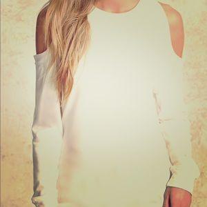 NWOT White/Ivory cold shoulder light sweatshirt