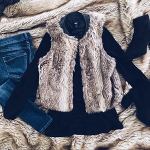 Faux fur vest with leather collar brown fur vest