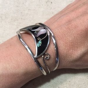 Alpaca Mexican Silver Cuff Mother of Pearl Inlay