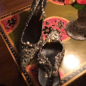 Black and White Sling Black Heels