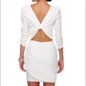 White mini dress ruched sleeve &open back. Ark&Co