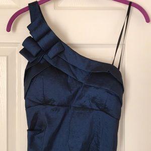 Blue Elegant One Shoulder Mermaid Evening Gown