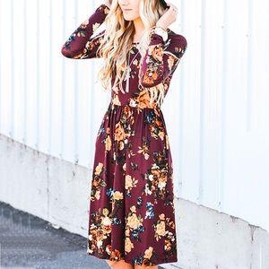 Dresses & Skirts - Maroon Floral Winter Long Sleeve Midi Dress,S-XXL